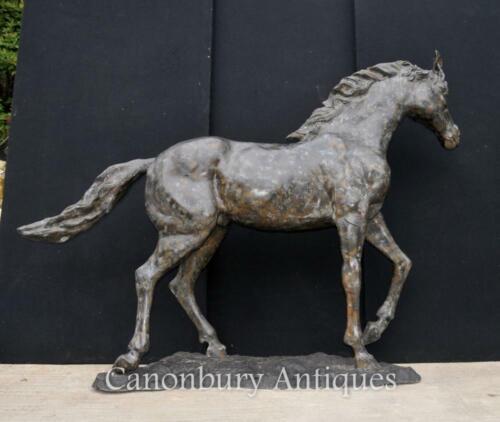 Bronze Horse Statue - Pony Large French Casting Verdis Gris Colt