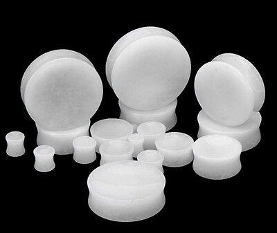 Gauge Snow Stone Plugs (PAIR-Stone Quartz Snow White Saddle Flare Ear Plugs 12mm/1/2