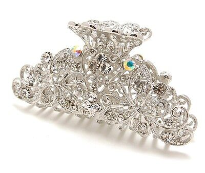 New Silver Crystal high quality Metal Butterfly/flowers Hair Claw Clip Pin  8021