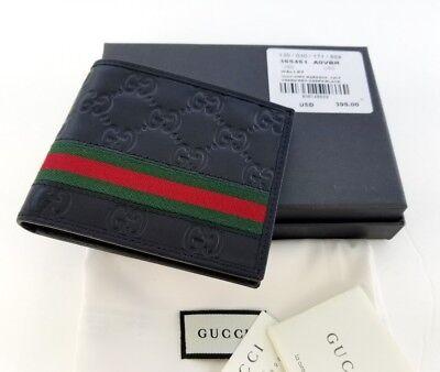 New Gucci Authentic Mens Black Bi fold Web Strip Guccisima Wallet with Box