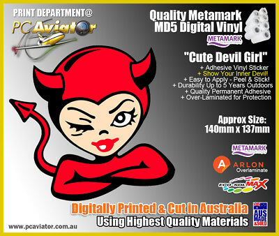 Cute Devil Girl Laminated Sticker - Indoor/Outdoor - Car, Truck, Window, Tablet Cute Devil Girl
