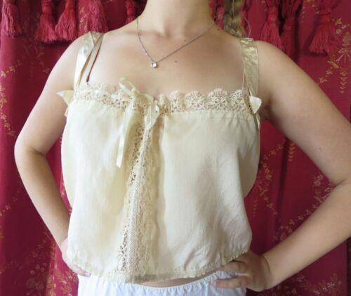 1920s Antique Ivory Silk Bobbin Lace Trim Corset Cover Boudoir Camisole Flapper