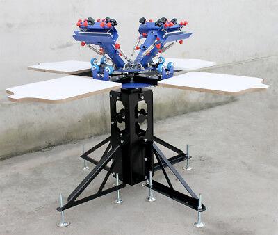 4 Color Silk Screen Printing Machine Micro Adjust Press Printer Rotary Equipment