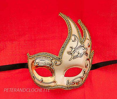 Mask from Venice Colombine Swan Musica Cream and Golden for Fancy Dress 701