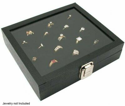 Glass Top Display Case 36 Slot Ring Insert Liner New Storage Jewelry Box Holder