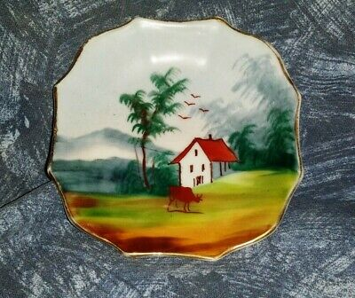 Japanese Chinese Pin Tray Dish Hand Painted House Trees Birds Gold Trim