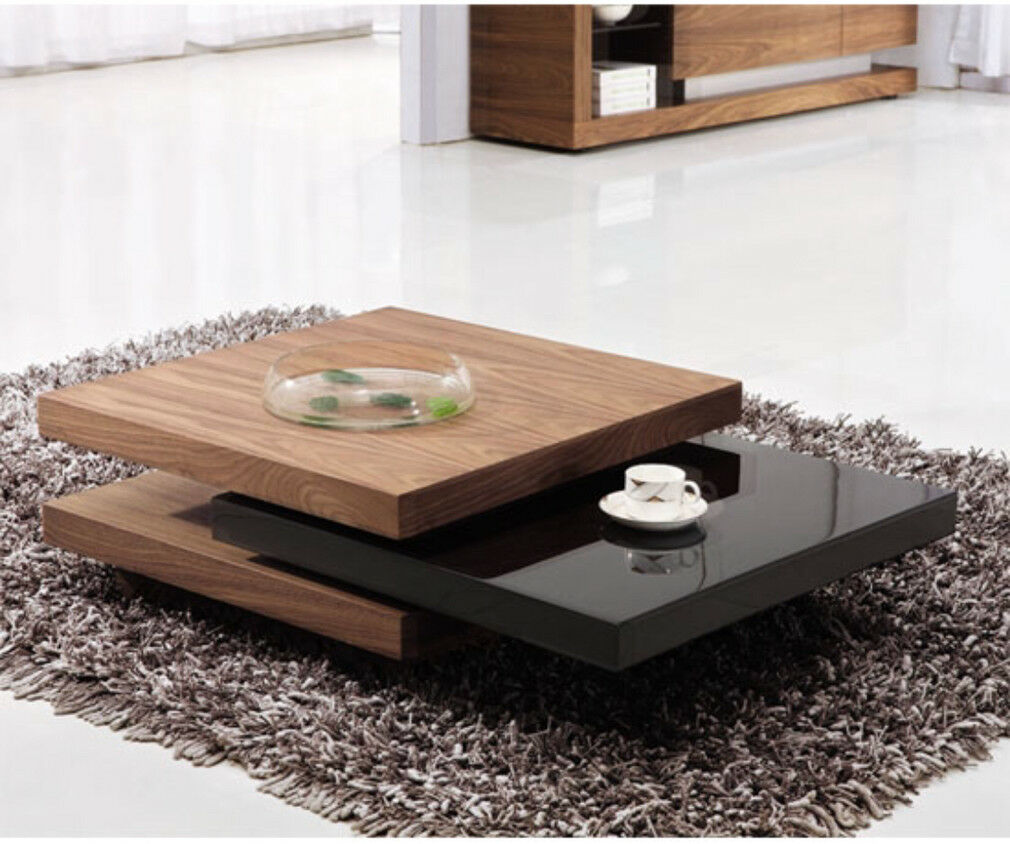 Contemporary Swivel Coffee Table // Designer Coffee Table // Walnut U0026 Black  Gloss /