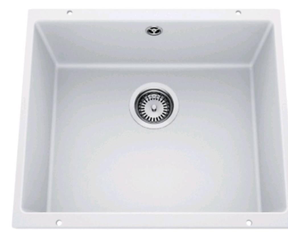 Blanco rotan 500 u granite 1 0 bowl white undermount kitchen sink waste overflow
