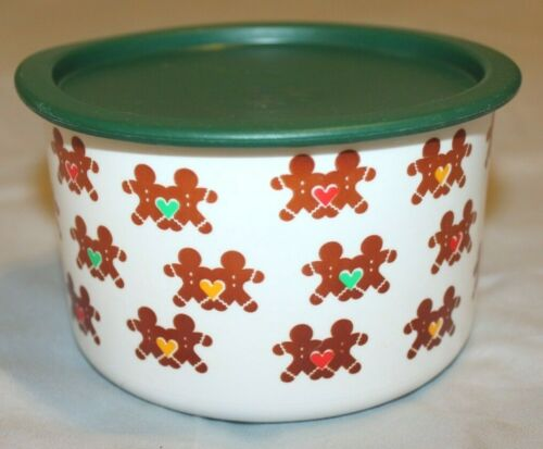 Gingerbread Design White Tupperware 4 Cup Cannister Push Lid Green Top A1R