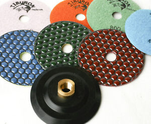 Diamond-Polishing-Pads-4-inch-Dry-7-Piece-Set-Backer-Pad-Granite-Concrete-Stone
