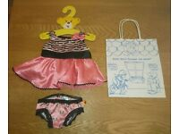 Build A Bear Workshop Pink And Black Dress And Knickers Set As New Condition