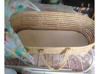 Unisex Moses Basket with metal Stand