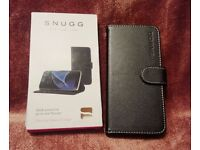 NEW Snugg PU Leather Wallet Case for Samsung Galaxy S7 Edge Black