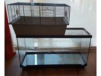Gerbil tank and cage/ gerbilarium/house/hamster/ fishtank/ free water bottles