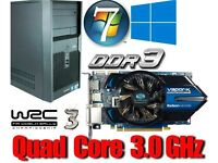 Gaming PC, QUAD CORE 3.0GHz, HD5750 GDDR5 , 4GB Ram,320GB HD