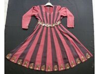 PINK AND PURPLE ANARKALI INDIAN ASIAN DRESS