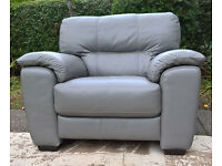 Ex-display Feather Grey Leather Arm Chair.