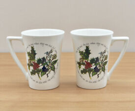 """2 x Portmerion """"holly & Ivy"""" Mugs. NEW (unwanted gift for parents). Retails for £32"""
