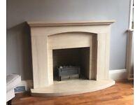 Limestone fire mantelpiece