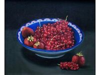 -TRICIA HARDWICK- BOWL OF REDCURRANTS FRUIT BERRIES STILL LIFE STUDY, OIL CANVAS