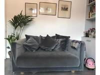 Grey, Velvet, Ikea, Two-seat sofa: STOCKHOLM 2017
