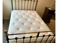 VICTORIAN ANTIQUE SMALL DOUBLE BLACK IRON BED + BESPOKE, NEARLY NEW, TOP QUAILTY MATTRESS