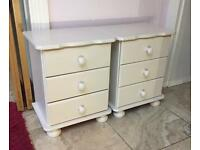 Pair of ivory bed side tables