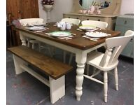 Lovely Solid Pine Farmhouse Table with Bench- 4 or 6 Chairs-White-Shabby Chic