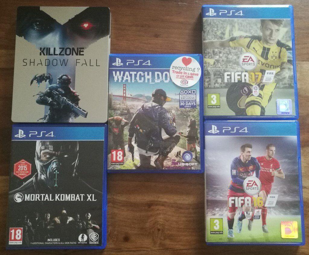 Watch Dogs 2, FIFA 17, FIFA 16, MORTAL KOMBAT XL, KILLZONE-SHADOW FALL