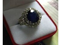Women 5 . 90 carat synthetic sapphire 4 cart diamond engagement ring