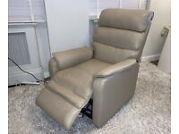 Dual Motor Electric Cream Leather Rise & Recliner Chair with Remote