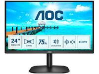 AOC 24 Inch FHD Monitor 75Hz Speakers HDMI/VGA/ DVI