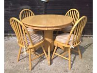 Solid Oak Round Extending Dining Table & Chairs *CAN DELIVER* from Marks & Spencer cost £699(pine)