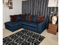 new mid night blue coner sofa left arm in cane fabric with floral cushions
