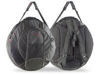 Stagg premium padded cymbal bag, shoulder straps, hi hat section, pocket. Back Pack Pro, 22 inch
