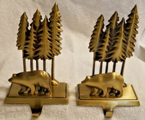 "SET/2 MIDWEST CANNON FALLS BEAR IN PINE TREES 7.5"" STOCKING HANGER HOLDERS METAL"