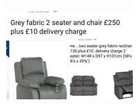 Grey fabric recliners