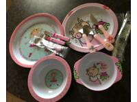 Little princess's plates & bowls with matching cutlery