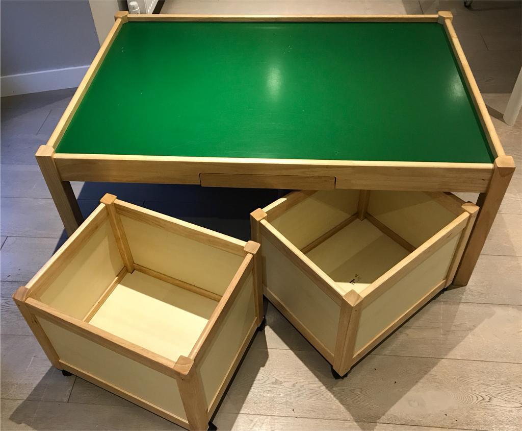 Children S Play Table John Crane With 4 Multi Storage Bins On Wheels