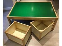 Children's Play Table (John Crane) with 4 multi storage bins on wheels