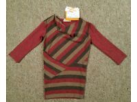 Baby girl red stripy dress new with tag, size 9 - 12 month