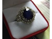 Women's 5 . 90 carat synthetic sapphire 4 cart diamond engagement ring