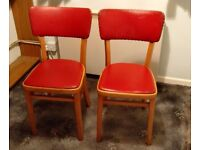 Mid Century Dining Chairs, Red Seats