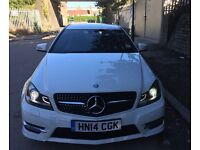2014 MERCEDES-BENZ WHITE C CLASS COUPE AUTOMATIC BlueEFFICIENCY AMG, Upgrade Diamond Style Grille