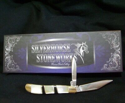 Silverhorse Pocket knife Premium Peanut MOP Custom Mother of Pearl Black -