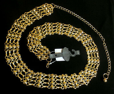 GOLD METAL BIKER CHAIN BELT Pin Up Girl CIRCLES n STUDS 20 22 1x 3x PLUS SIZE 2X