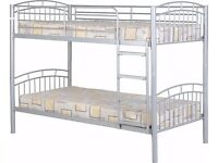 NEW very strong metal bunk beds in white silver or black, can be split into 2 singles IN STOCK NOW