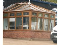 Ex display Conservatory, Brown Wood effect PVC, Rectangular in excellent condition
