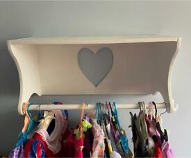 Handmade hanging rail and shelf