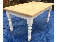 Chunky pine farmhouse table. Free delivery.